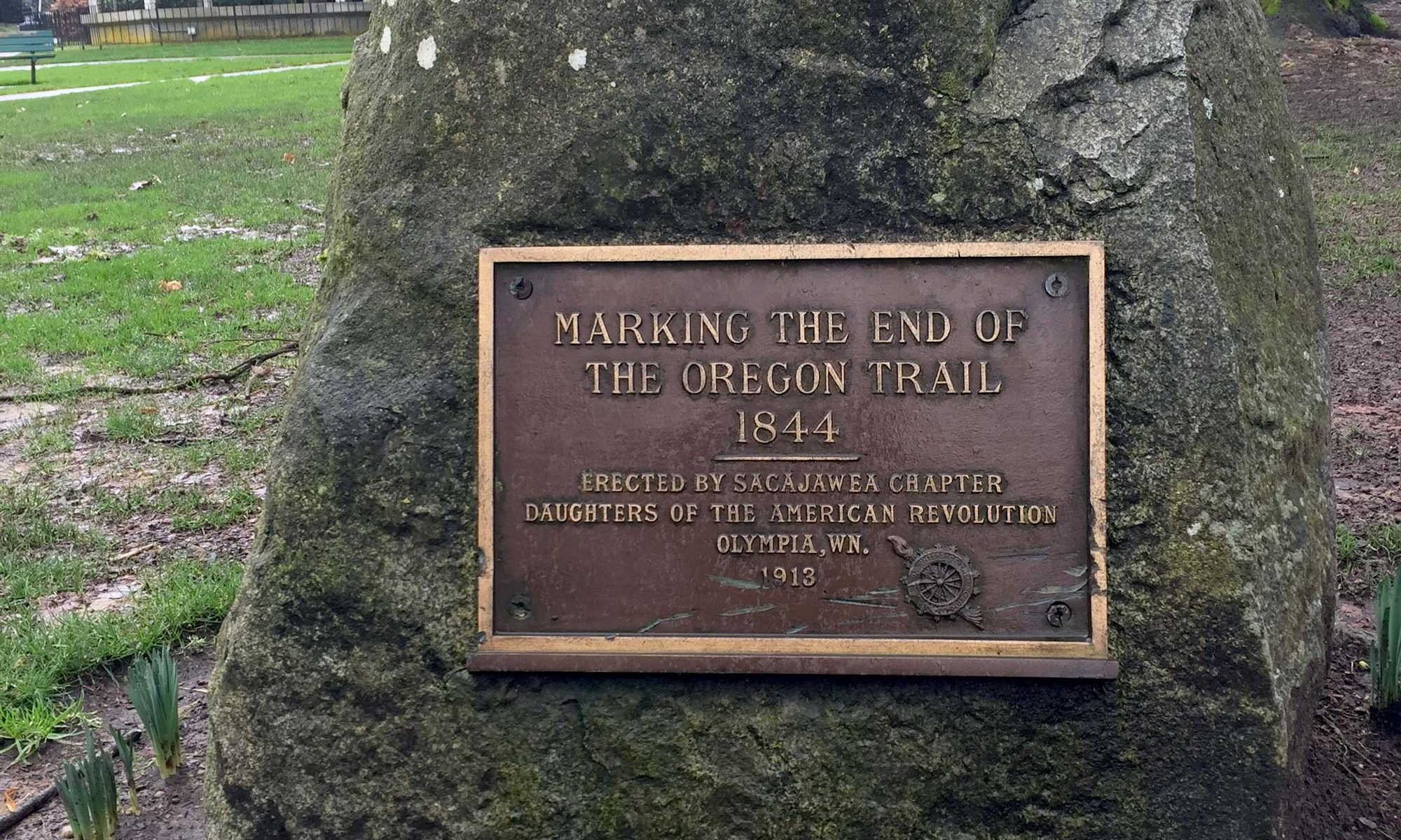 End of the Oregon Trail marker in Sylvester Park, Olympia